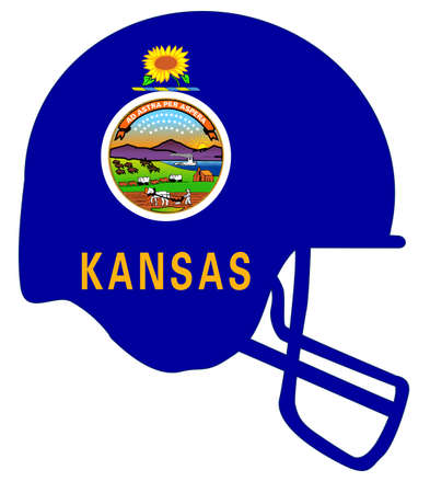 The flag of the state of Kansas below a football helmet silhouette
