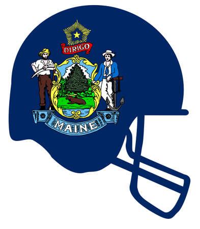 フットボール用ヘルメットとメイン州の旗。  イラスト・ベクター素材
