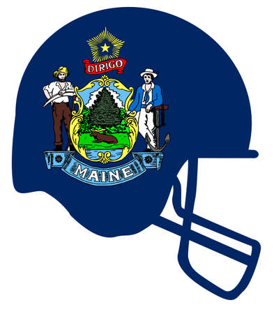 The flag of the state of Maine with football helmet.