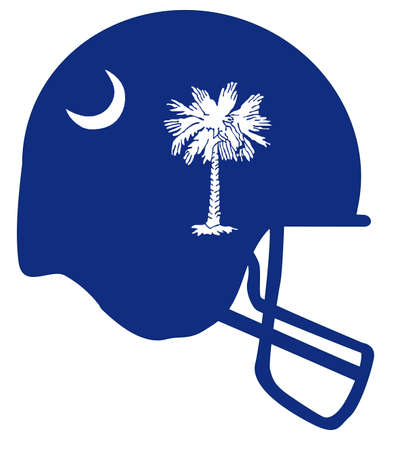 The flag of the state of South Carolina with football helmet.