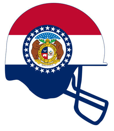 The flag of the state of Missouri with football helmet.
