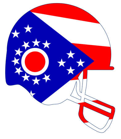 The flag of the state of Ohio on a football helmet icon.