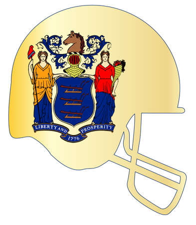 The flag of the state of New Jersey with football helmet. Illustration