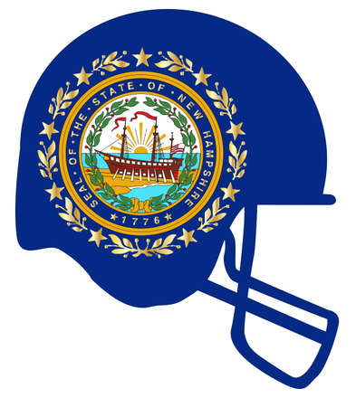 The flag of the state of New Hampshire with football helmet. Illustration