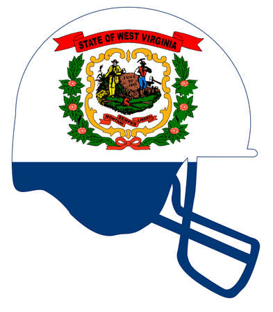 The flag of the state of West Virginia below a football helmet silhouette