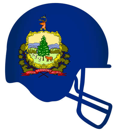 The flag of the state of Vermont below a football helmet silhouette Çizim
