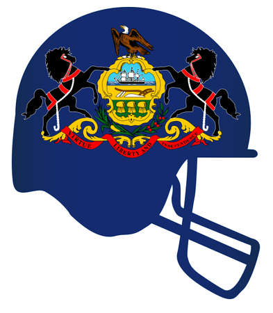 The flag of the state of Pennsylvania below a football helmet silhouette 向量圖像