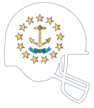 The flag of the state of Rhode Island below a football helmet silhouette