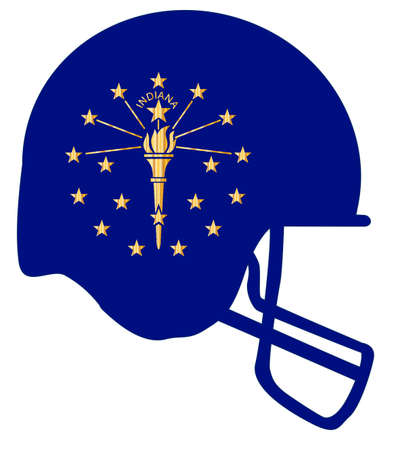 The flag of Indian on a football helmet icon. Illustration