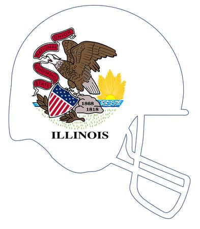 The flag of Illinois on a football helmet icon. Illustration