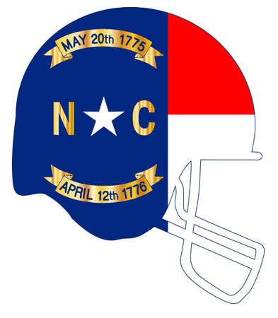 The flag of North Carolina on a football helmet icon.