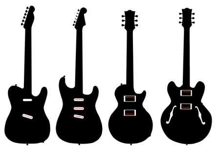 白い背景の上のピックアップの近代的なエレキギター図形のコレクション。