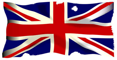 The British Union Flag, or Union Jackthat is damaged by cannon and musket  ball fire.