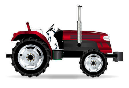 A typical modern farmyard tractor in red on a white background.