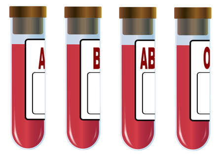 A collection of four test tubes each with a particular human blood group.