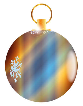 A bright Christmas decorative golden ball. Illustration