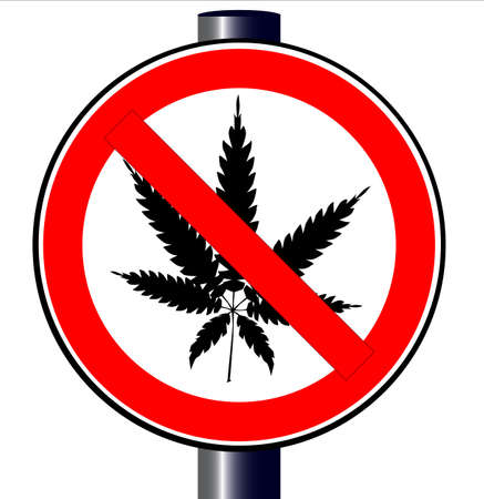 A road traffic sign declaring  weed ban isolated on white.