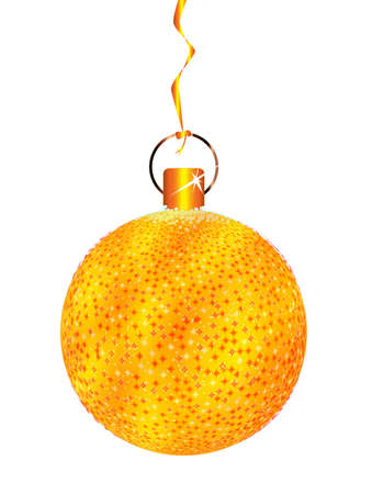 A gold and spakly Christmas tree ball decoration on a white bakground Stock Photo