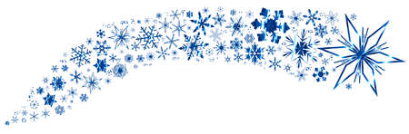 A collection of different snowflakes in a banner.