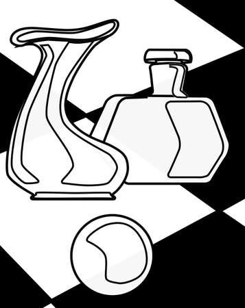 꽃병, 종이 무게 및 흑백 체크 배경으로 설정된 병의 입체파 형 도면