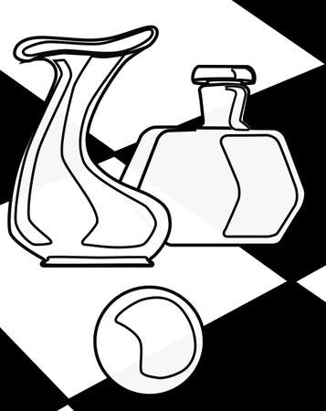 A cubist type drawing of a vase, a paper weight and a bottle set against a black and white check background Illustration