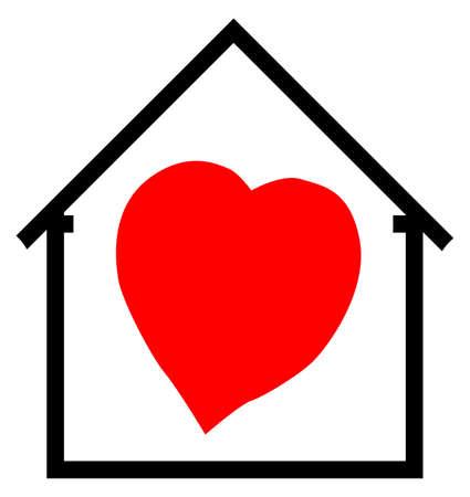 Een beeldverhaalhart en huis met hart en geïsoleerd op een witte achtergrond