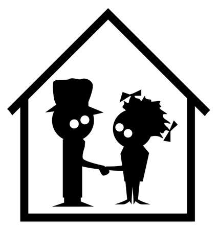 Silhouette of a married couple in cartoon in the family home isolated on a white background Ilustração