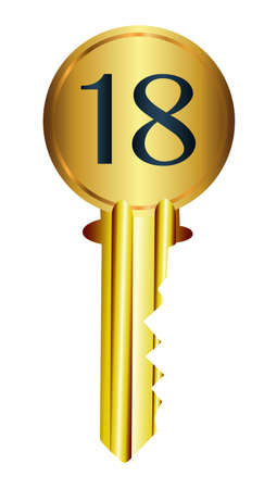 A front door key with the legend 18 over a white background