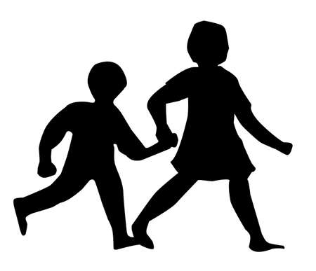 Two children walking and holding hands in silhouette on a white background