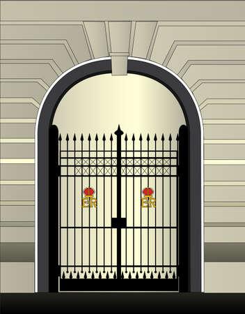 鉄の門と王宮ゲートウェイ。 写真素材 - 89090350