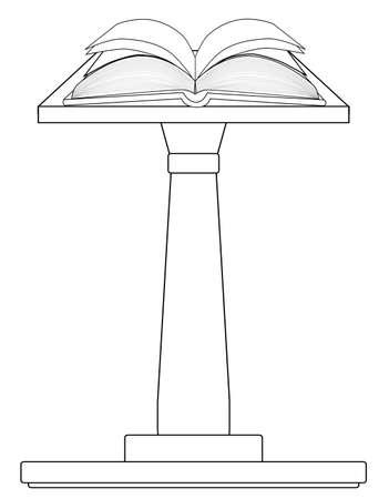 A large, open, hard back book set upon a pulpit podium in outline Illustration