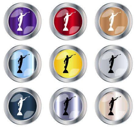 lds: A round button collection over a white background each with the angel Maroni blowing his horn