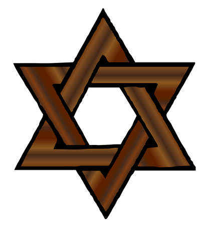 A star of david made from timber over a white background Illustration
