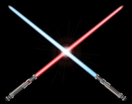 A pair of sci-fi light sword weapon with blue and red blades isolated on a black background