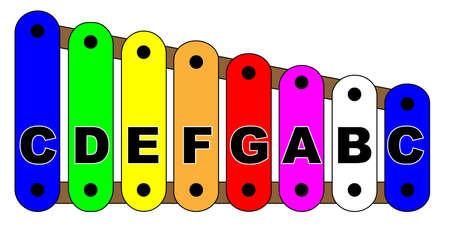 Una rappresentazione di uno xilofono giocattolo con nomi di note.