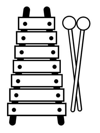 Uno xilofono giocattolo in contorno bianco e nero.