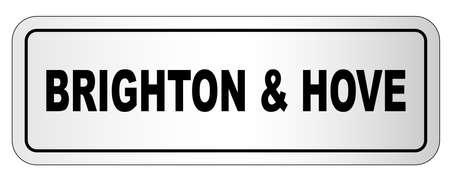 De stad Brighton en Hove naambord op een witte achtergrond