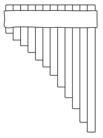 A set of tradition type pan pipes drawn in outline on a white background