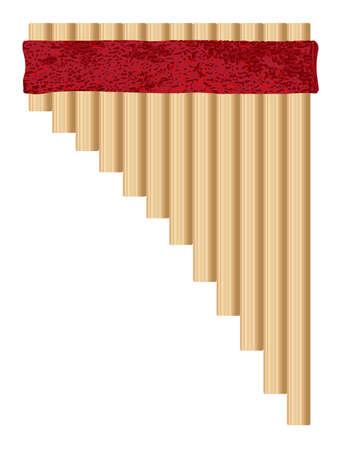 白い背景に伝統的なタイプのパンパイプのセット  イラスト・ベクター素材