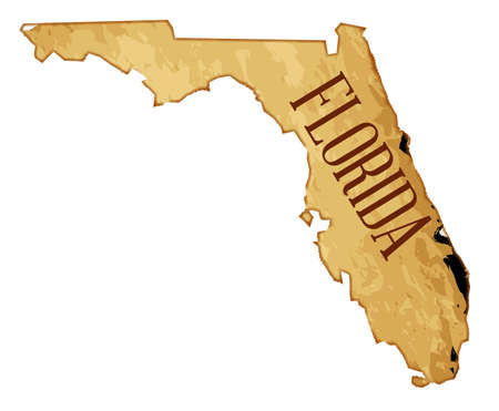 A parchment background of the map of the state of Florida over a white background