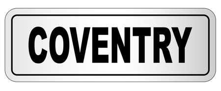 De stad Coventry op het typeplaatje op een witte achtergrond