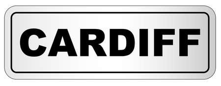 De stad van het typeplaatje van Cardiff op een witte achtergrond Stock Illustratie