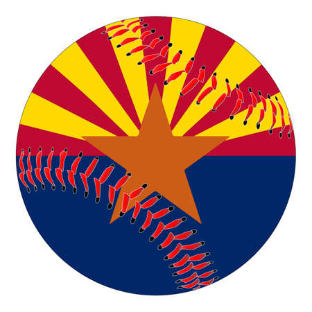 A new white baseball with red stitching with the Arizona state flag overlay isolated on white Stock Illustratie