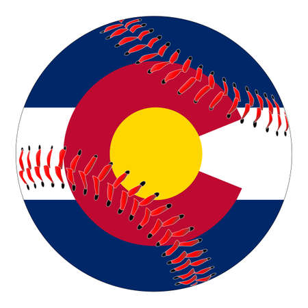 A new white baseball with red stitching with the Colorado state flag overlay isolated on white Illustration