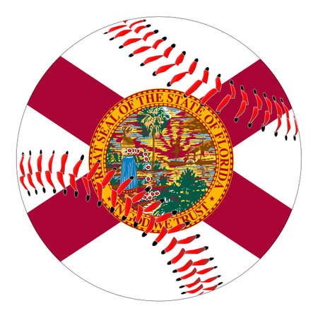 A new white baseball with red stitching with the Florida state flag overlay isolated on white
