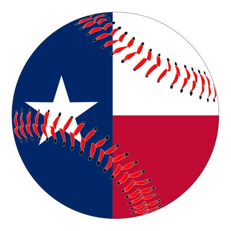 A new white baseball with red stitching with the Texas flag overlay isolated on white Illustration