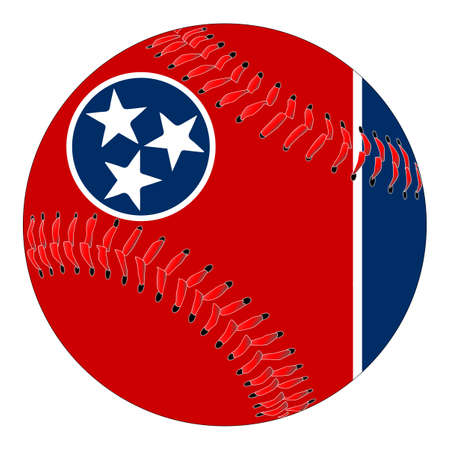 A new white baseball with red stitching with the Tennessee state flag overlay isolated on white