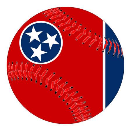 Een nieuw wit honkbal met rood stiksel met de overlay van de staatsvlag van Tennessee die op wit wordt geïsoleerd Stock Illustratie