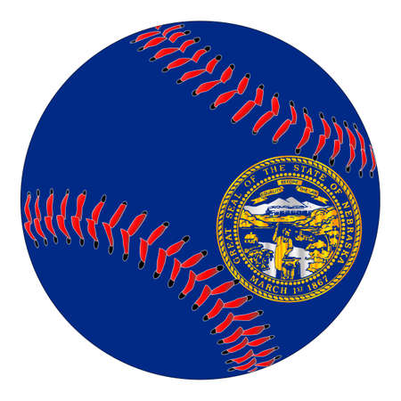A new white baseball with red stitching with the Nebraska state flag overlay isolated on white Illustration