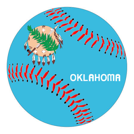 A new white baseball with red stitching with the Oklahoma state flag overlay isolated on white